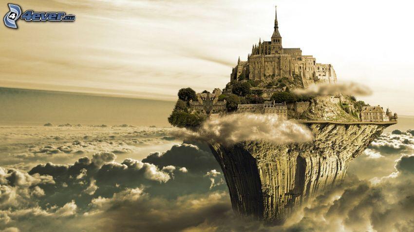 isla voladora, nubes, castillo, Mont Saint-Michel