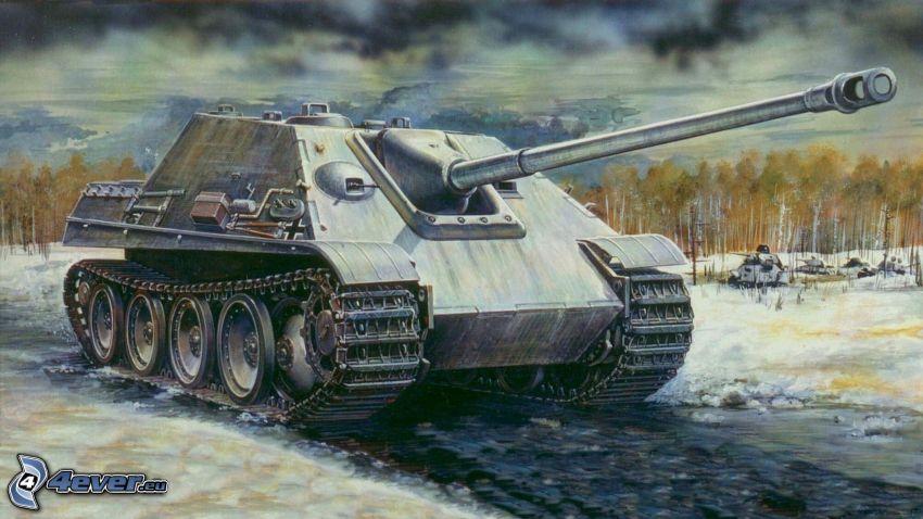 Jagdpanther, Wehrmacht, tanque, nieve