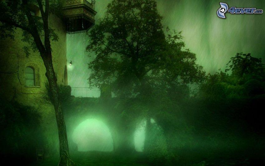 jardín, lluvia, antiguo edificio