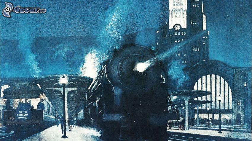La estación de tren, locomotora de vapor, noche