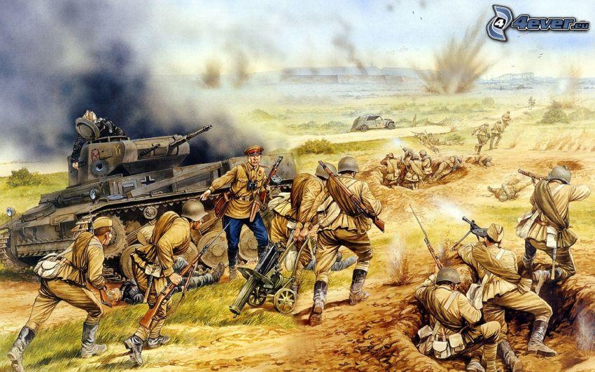La Segunda Guerra Mundial, soldados, tanque