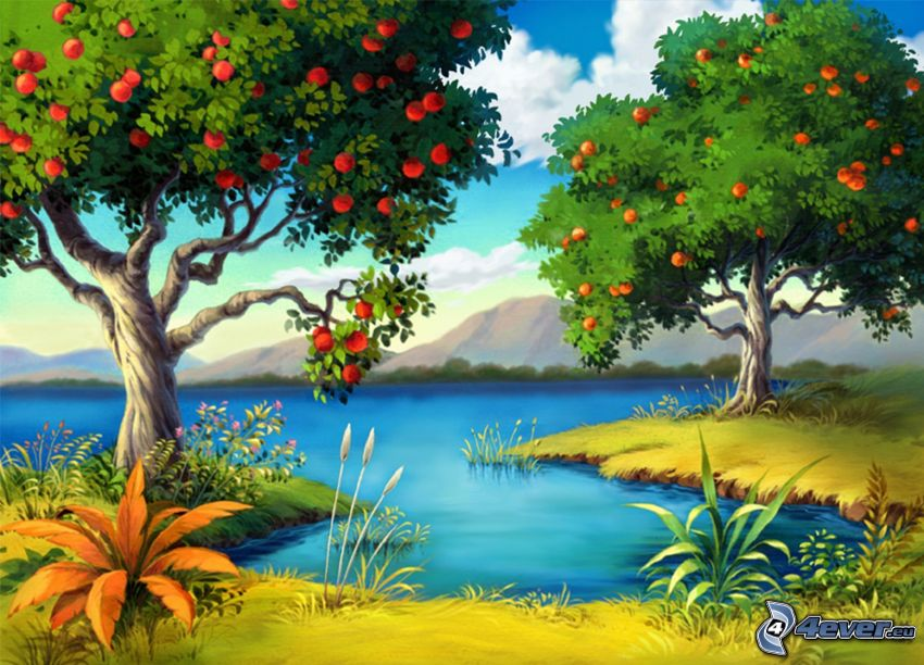 lago, malus, manzanas rojas