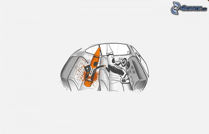 lápices de color, coche