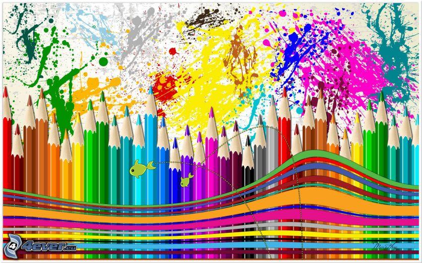 lápices de colores, manchas, líneas de color