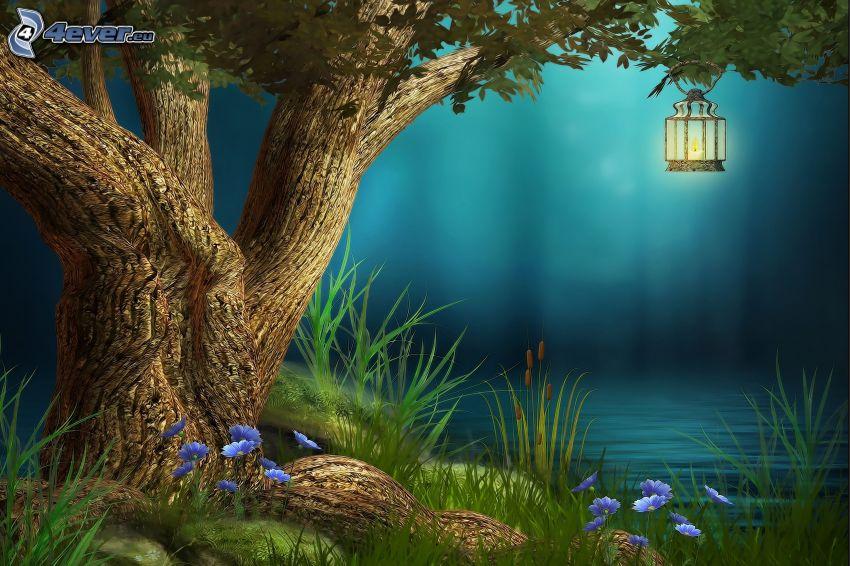 linterna, árbol, hierba alta, flores de color azul, lago, noche
