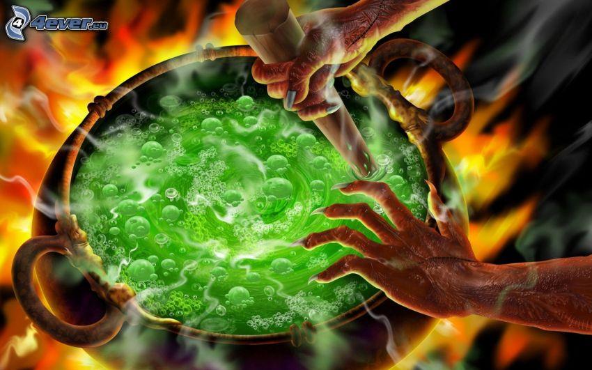 líquido, manos, bruja