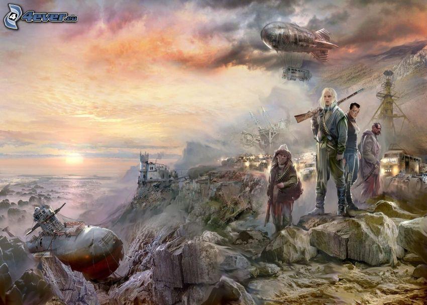 los personajes dibujados, globo dirigible, Monte rocoso