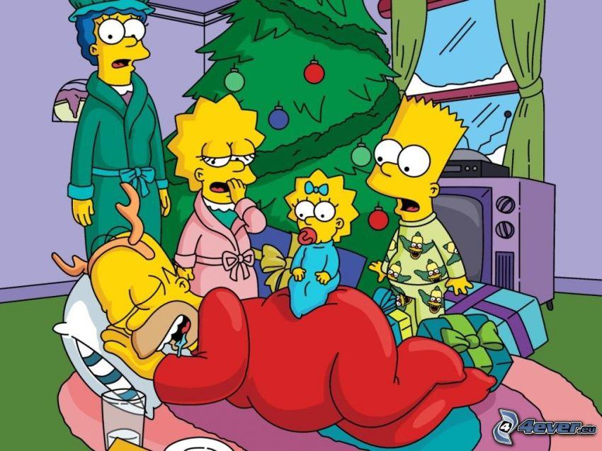 Los Simpson, dormir, árbol de Navidad