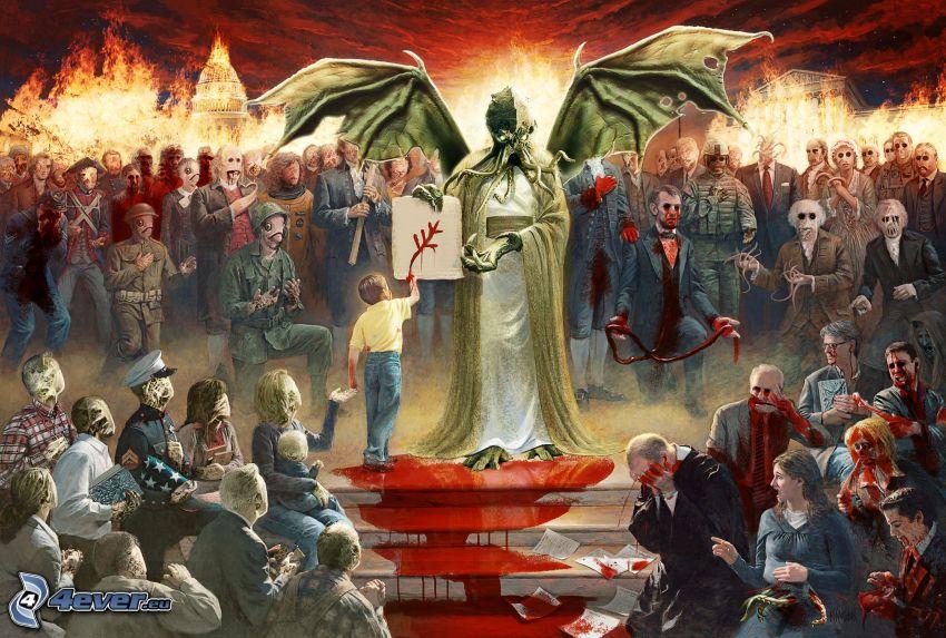 Lovecraft, pulpo, alas, personas