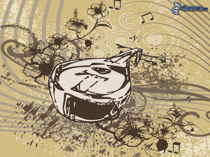 mandolina, líneas, flores dibujados, notas de música