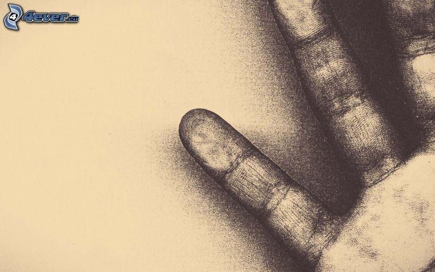 mano de dibujos animados, dedos, huella dactilar