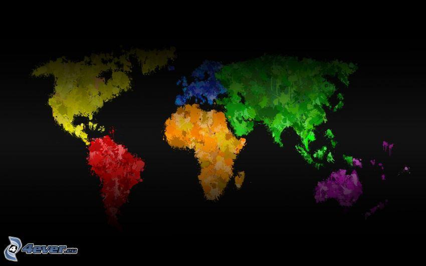 mapa del mundo, colores