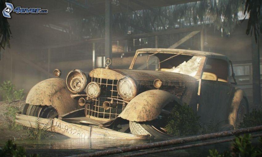 Mercedes, veterano, dibujos animados de coche, naufragio