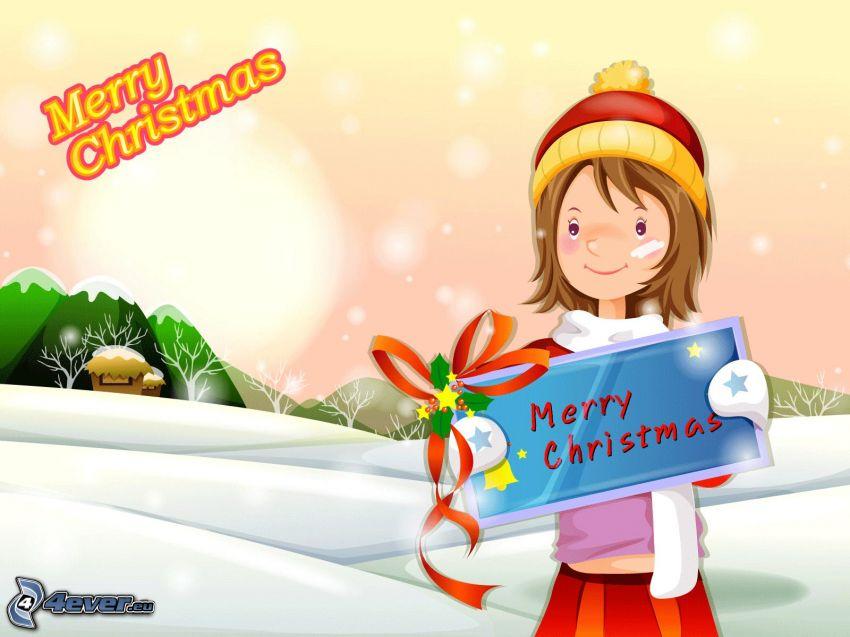 Merry Christmas, dibujos animados de chica