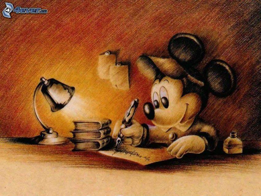 Mickey Mouse, pluma, carta, libros, lámpara