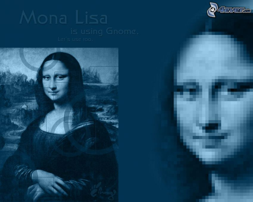 Mona Lisa, Gnome, dibujo, Linux