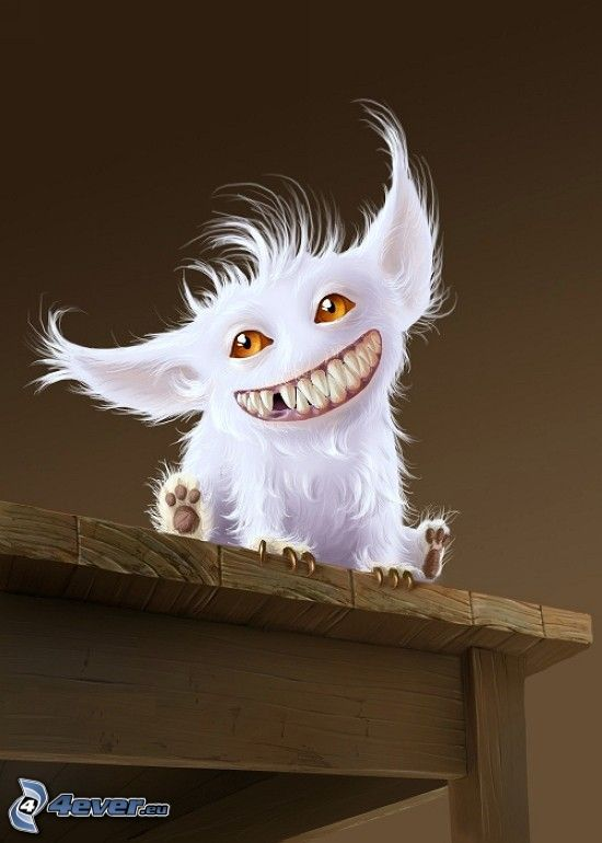 monstruo, sonrisa, dientes, mesa