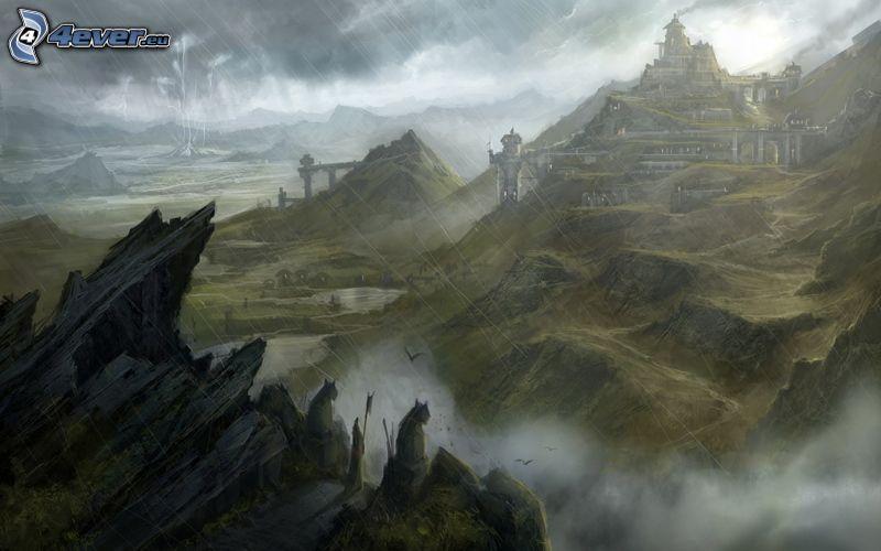 montaña rocosa, lluvia, niebla