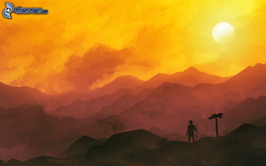 montañas, puesta del sol, cielo anaranjado, silueta de un hombre