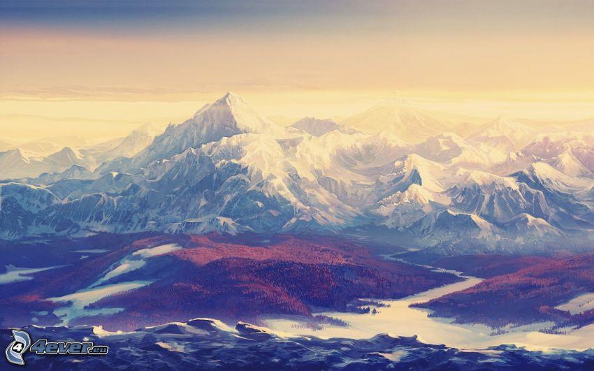 montañas nevadas, paisaje, dibujo