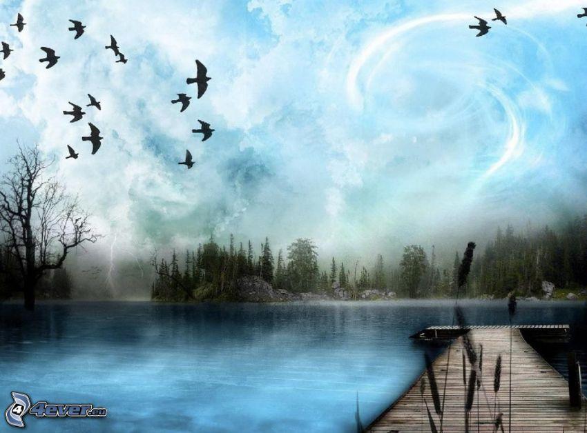 muelle de madera, bandada de cuervos, lago