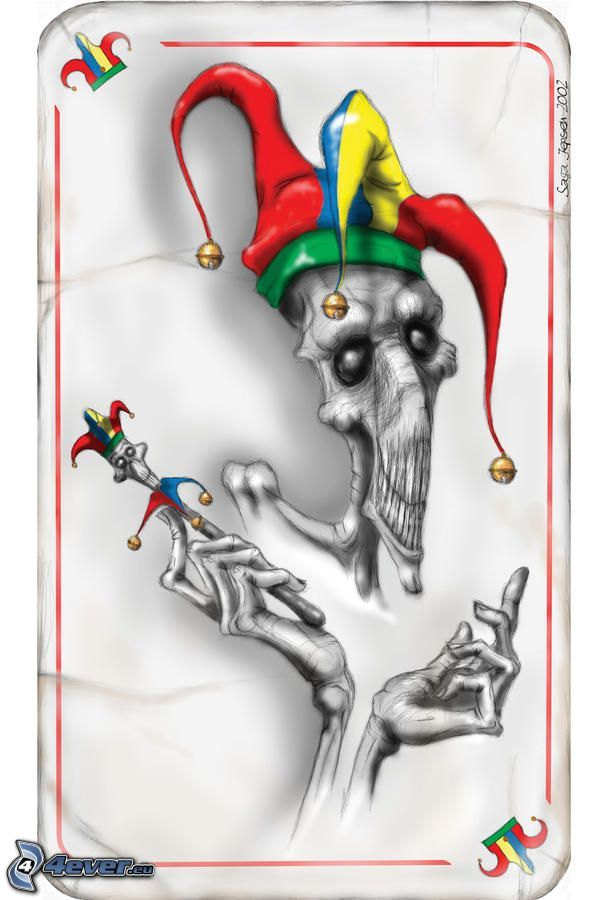 muerte, bufón, tarjeta