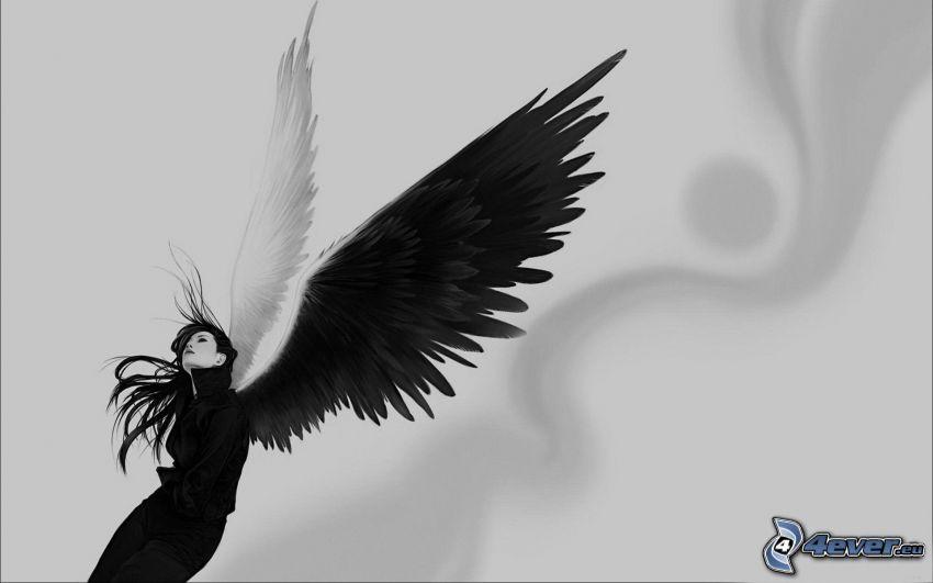 mujer con alas, blanco y negro