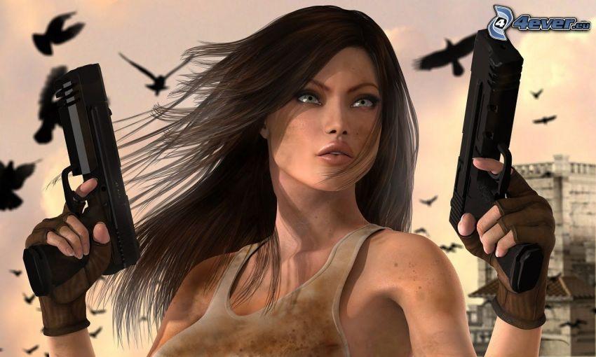 mujer con arma, caricatura de mujer