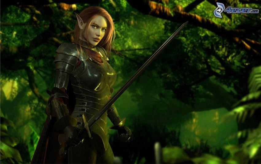 mujer elfo, caricatura de mujer, espada