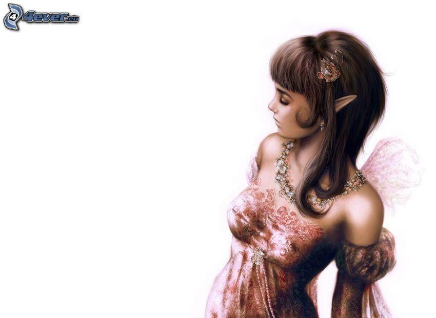 mujer elfo, caricatura de mujer