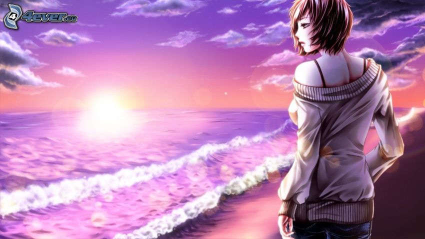 mujer junto al mar, dibujos animados de chica, olas en la costa, puesta de sol púrpura
