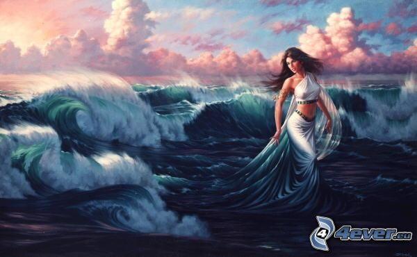 mujer pintada, ondas, mar