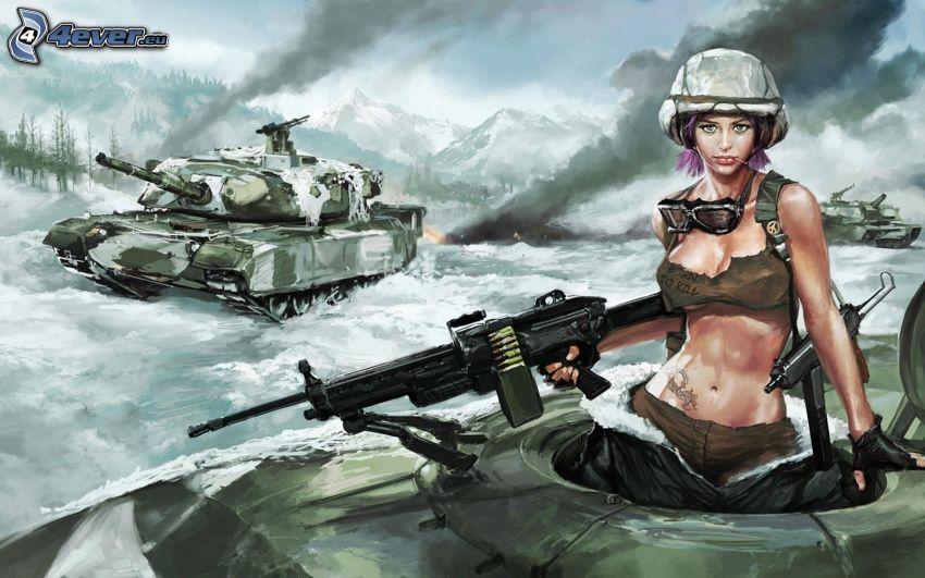 mujer soldado, caricatura de mujer, mujer con arma, tanques