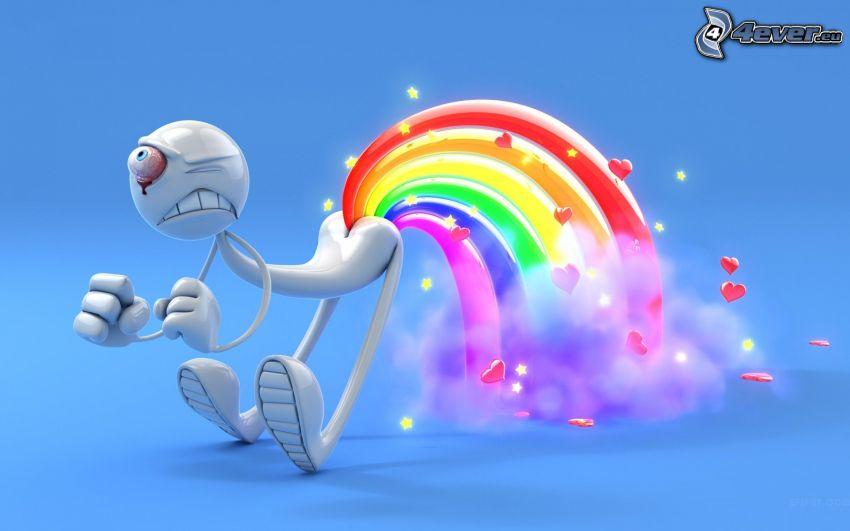muñeco, arco iris, corazones