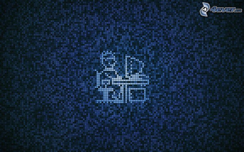 muñeco, ordenador, fondo azul