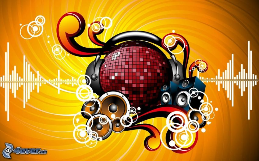 música, bola de discoteca, altavoces, auriculares