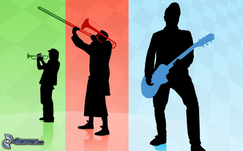 Músicos, Guitarrista, trompeta, siluetas