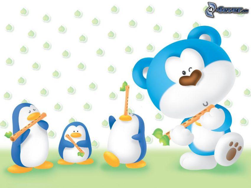 Músicos, oso de peluche, pingüinos
