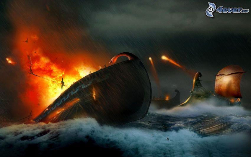 nave, explosión, mar tormentoso