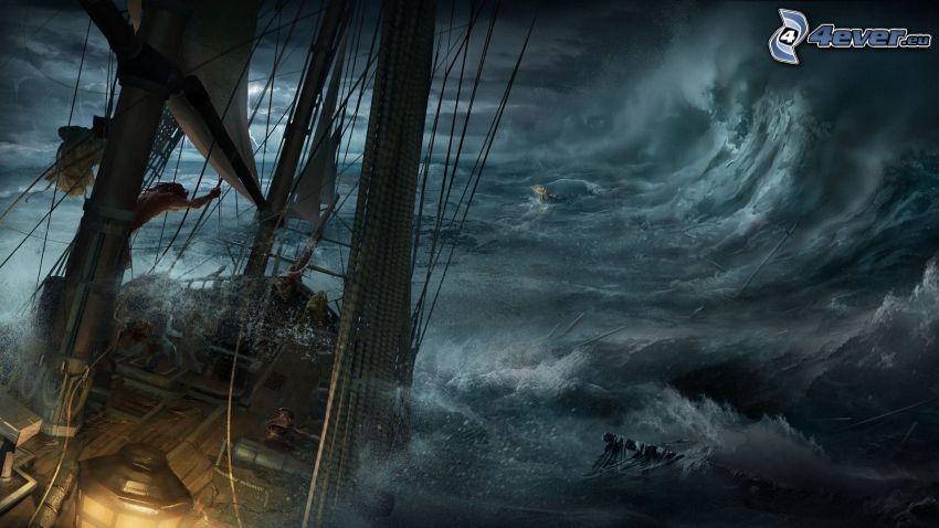 nave, mar tormentoso