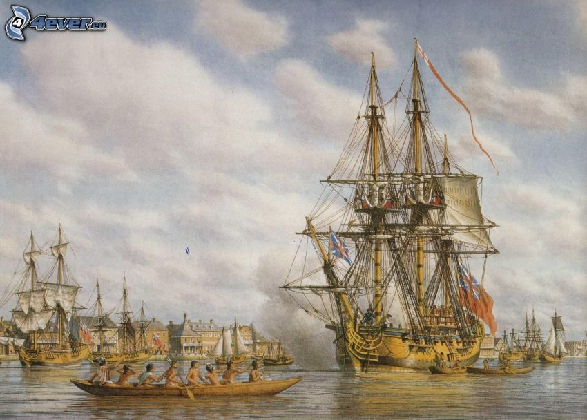 naves, barco, personas, puerto