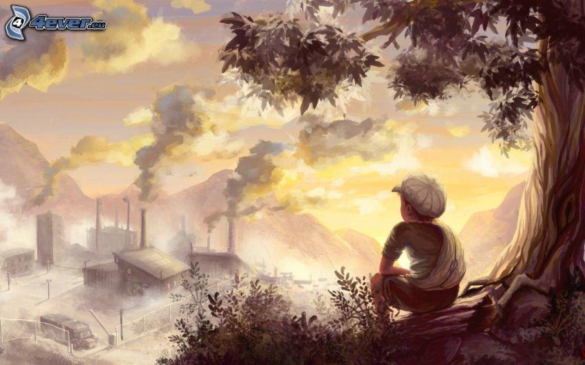 niño, fábrica, vista, montañas