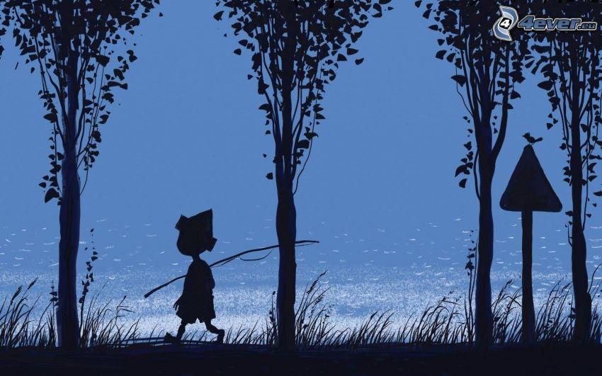 niño, pescador, señal, lago, siluetas, dibujos animados