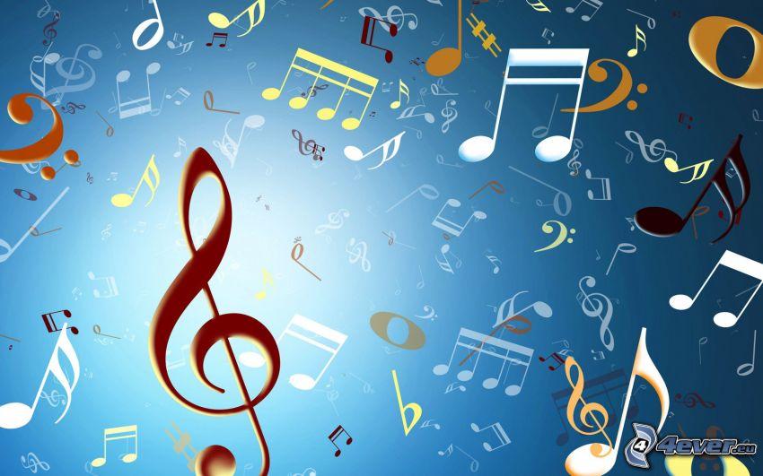 notas de música, clave de sol, fondo azul