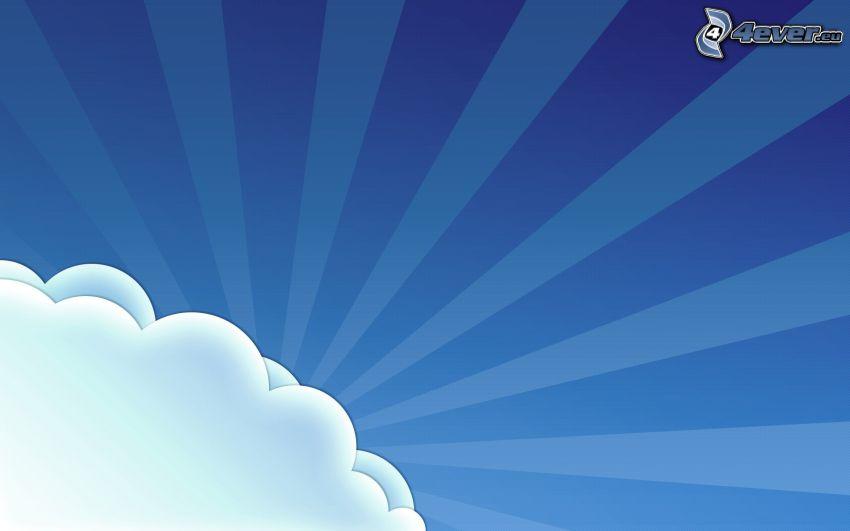 nube, rayos de sol, líneas