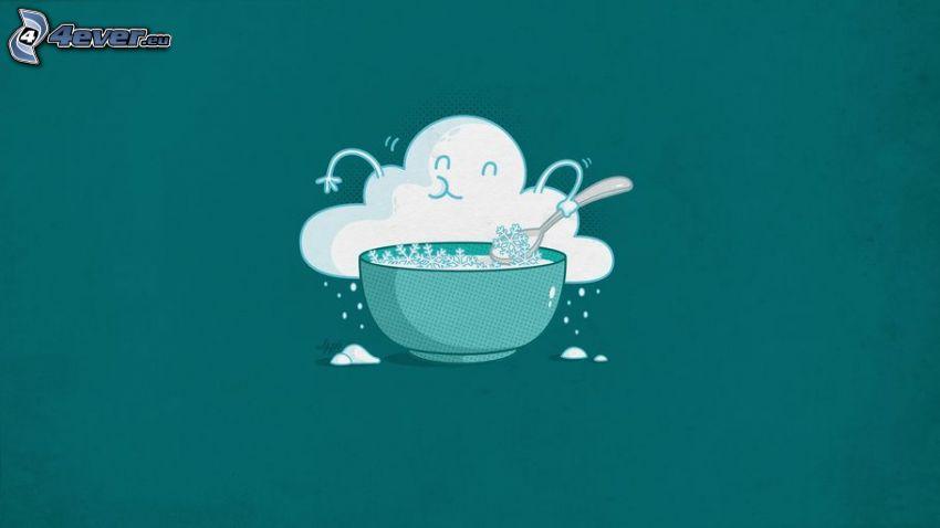 nube, tazón, copos de nieve