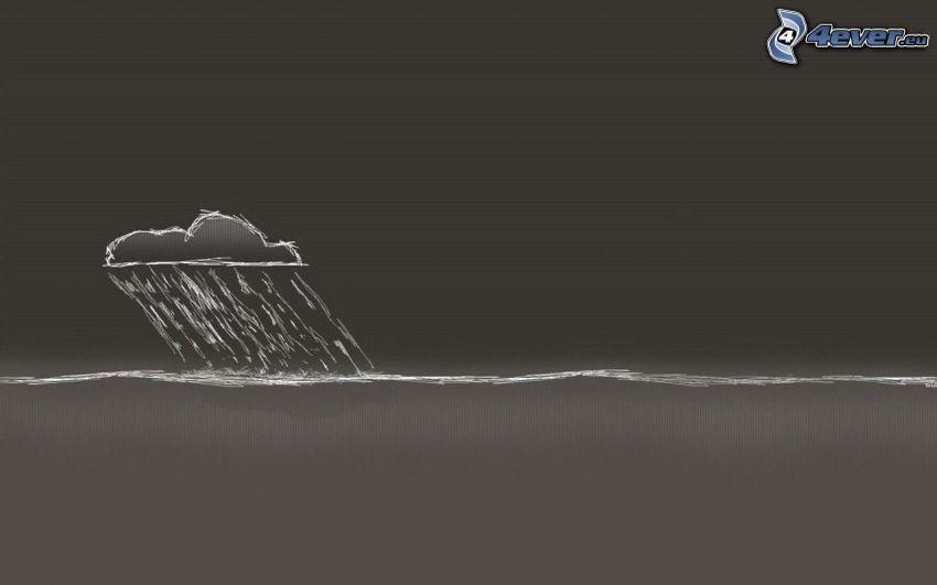 nube, tormenta, mar