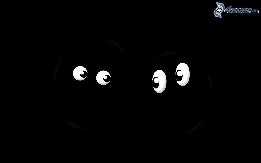 ojos, fondo negro