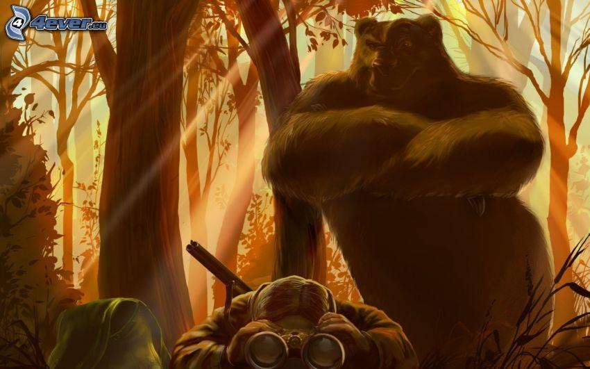 oso, hombre