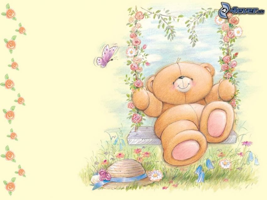oso de peluche, columpio, forever friends, mariposa